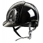 KEP Italia polish black with cocco style leather front and back - swarovski frame - black chinstrap with swarovski
