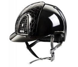 KEP Italia polish zwart met cocco style leder voor en achterzijde - swarovski frame - zwart kinbandje met swarovski