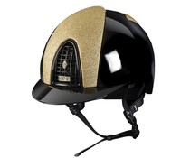 KEP Italia polish black with star glitter golden front and back - golden button and zirkoon KEP logo