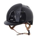 KEP Italia polish black with satin front and back - cognac chinstrap