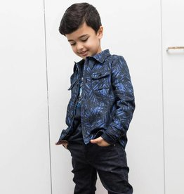 La Maison Victor Twill katoen Stretch jeans blauw/zwart palmblad