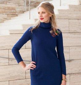 La Maison Victor COUPON 55 cm Effen blauwe tricot met fijne ribbel