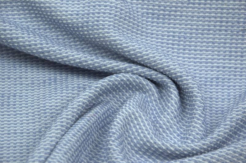 COUPON 100cm Geweven chanel wit/lichtblauw
