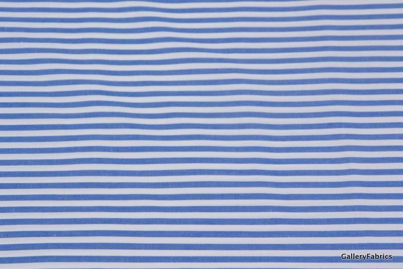 Polyester/katoen Blauw/Wit gestreept