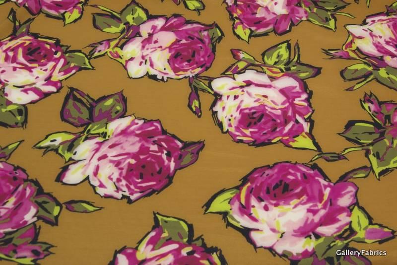MOOILOOP MOOILOOP - Habutai zijde Oker/Rose bloemen