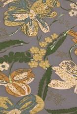 MOOILOOP MOOILOOP - Habutai zijde Roest/Groen bloemen