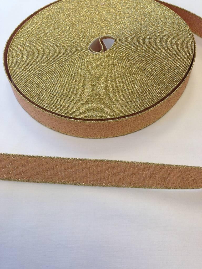 Glitterelastiek goud/zalmroze