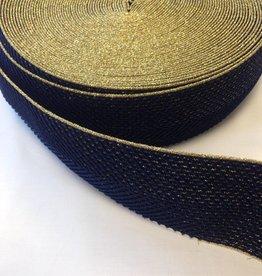 Glitterelastiek navy/goud