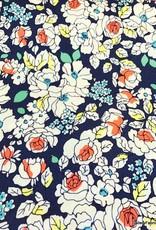 Katoenstretch bloemenprint donkerblauw
