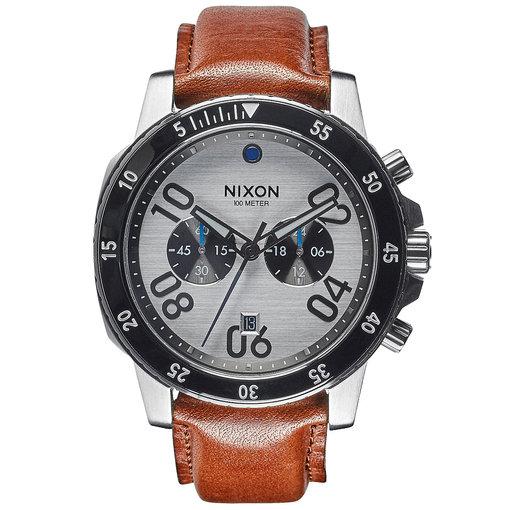 NIXON A940-2092 Ranger Chrono Leather Silver Saddle 44mm 10ATM