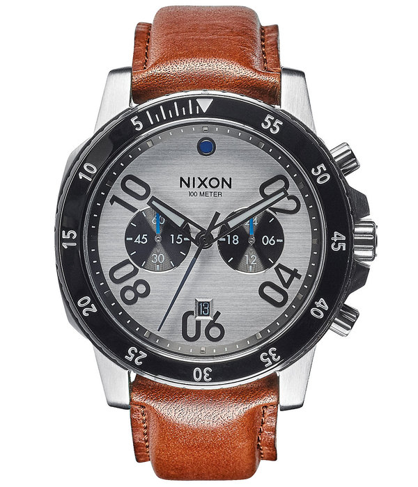 NIXON A940-2092 Ranger Chrono Leather Silver Saddle 44mm 10ATM
