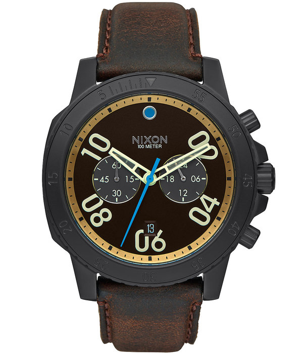 NIXON A940-2209 Ranger Chrono Leather Silver Saddle 44mm 10ATM