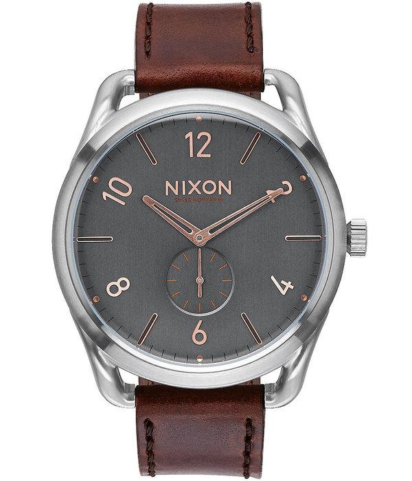 NIXON A465-2064 C45 Leder Grijze Rose Grijs Rose Goud 45mm 10ATM