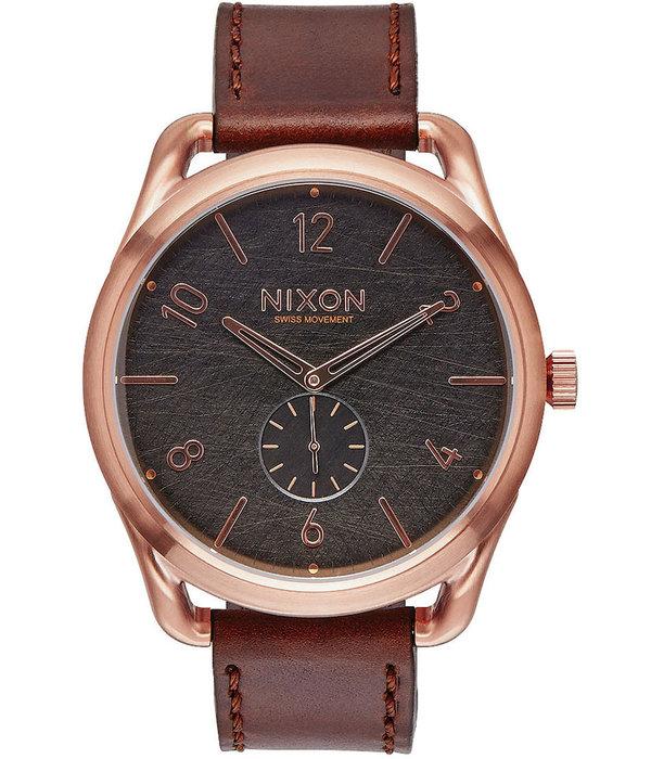 NIXON A465-1890 C45 Lederroze Roodgoud Bruin 45mm 10ATM