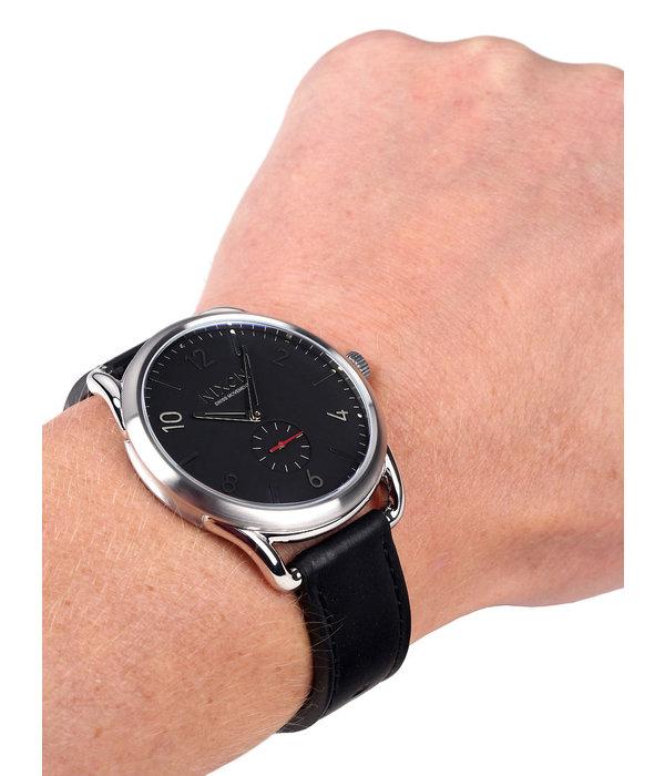 NIXON A465-008 C45 Leder Zwart Rood Leder Rood 45mm 10ATM