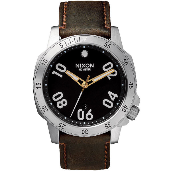 NIXON A508-019 Ranger Leather Zwart Bruin 44mm 10ATM