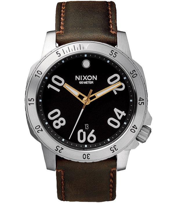 NIXON A508-019 Ranger Leather Zwart Bruin 44mm 10ATM