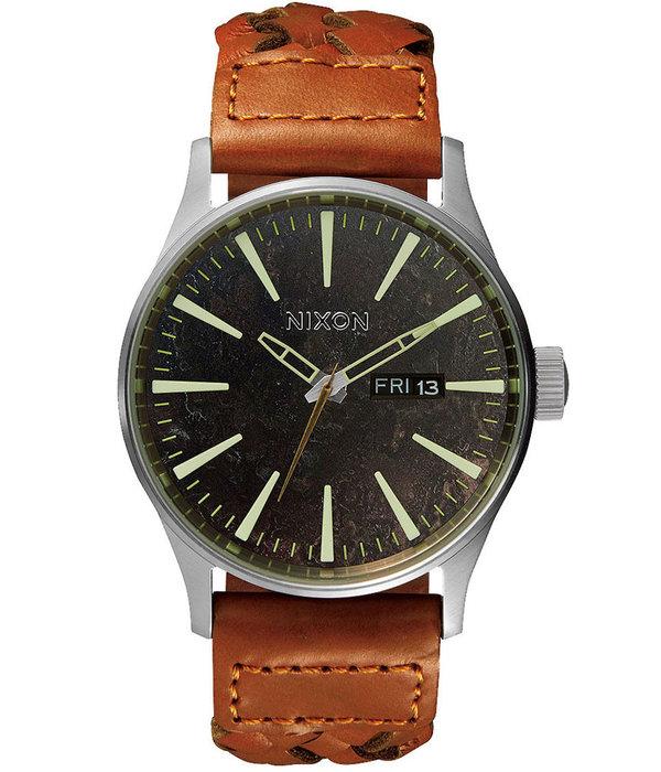 NIXON A105-1959 Sentry Leather Dark Copper Saddle Woven 42mm