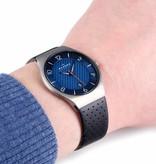 Skagen 6148 herenhorloge Titanium grijs blauw leer 41mm