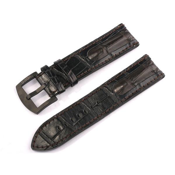 U-Boat HerenBandje Ref. 6491 IPB 23/22 Bruin-Zwart alligator leather
