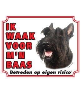 Stickerkoning Schotse Terrier Waakbord - Ik waak voor mijn baas