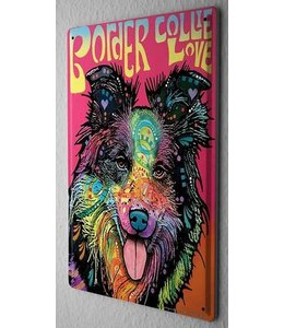 Leotie Border Collie Metalen Bord Love