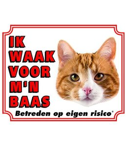 Stickerkoning Katten Waakbord - Ik waak voor mijn baas Rood