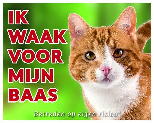 Katten Waakbord - Ik waak voor mijn baas Rood