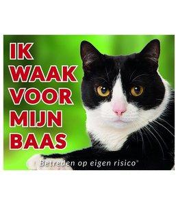 Stickerkoning Katten Waakbord - Ik waak voor mijn baas zwart-wit