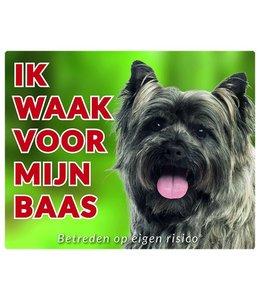 Stickerkoning Cairn Terrier Waakbord - Ik waak voor mijn baas Grijs