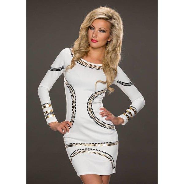 Fashion Jurk met Lange Mouwen Wit