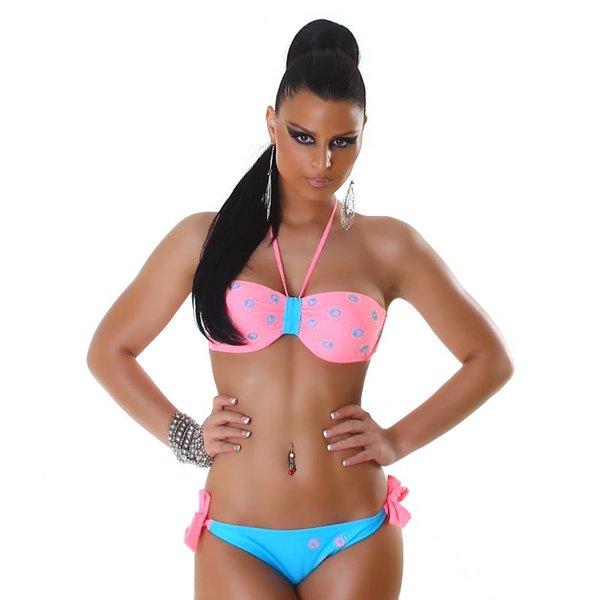 Tweekleurige Fashion Neckholder Bikini Set