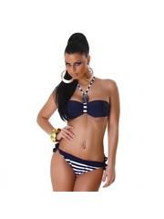 Tweekleurige Fashion Neckholder Bikini Set Navy