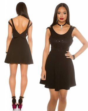 Fashion Mini Jurk met wijde Rok Zwart
