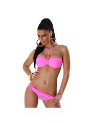 Tweekleurige Fashion Neckholder Bikini Pink