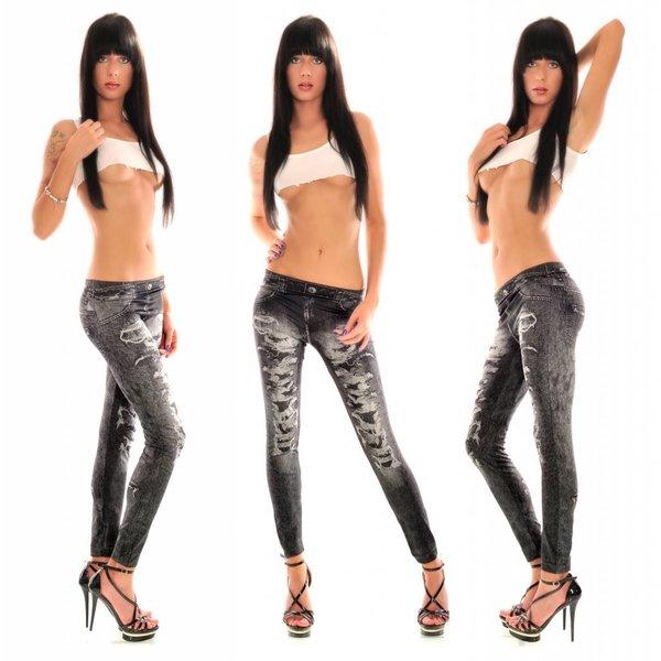 Washed Jeans Look Stretch Legging Zwart