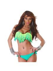 Bandeau Fringe Bikini met Franjes Groen