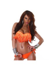 Bandeau Fringe Bikini met Franjes Oranje