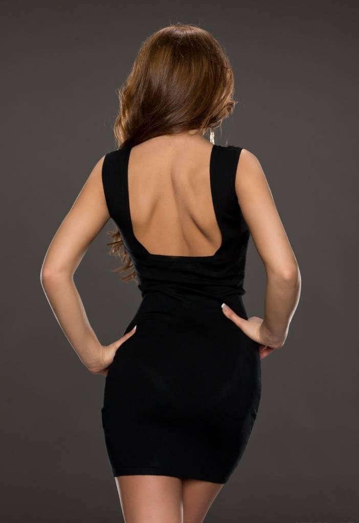 Fashion Mini Jurk in Aansluitend Model Zwart - Fashion Of M