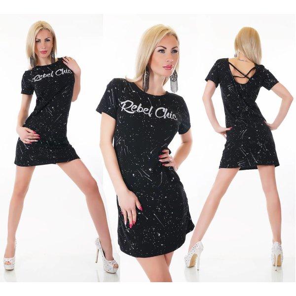Fashion Mini Jurk met Korte Mouwen Zwart