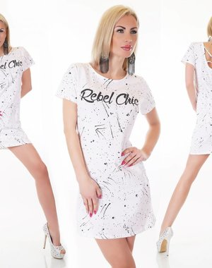 Fashion Mini Jurk met Korte Mouwen Wit