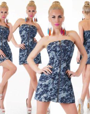 Strapless Fashion Mini Jurk Donker Blauw