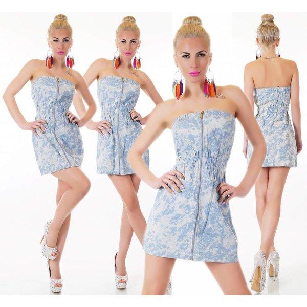 Strapless Fashion Mini Jurk Blauw