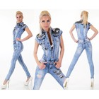 Skinny Jeans Jumpsuit in Gewassen Look