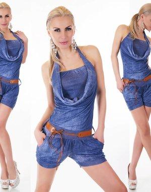 Tropical Neckholder Playsuit Donker Blauw