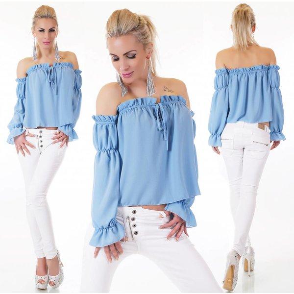 Fashion Blouse Shirt met Lange Mouwen Licht Blauw