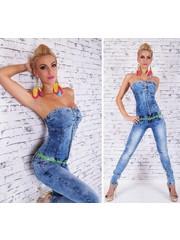 Lange Strapless Jeans Jumpsuit Blauw