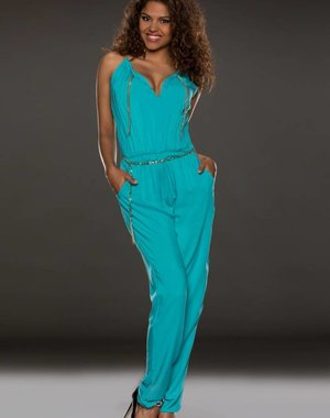 Zomer Jumpsuit met Steekzakken Turquoise Blauw