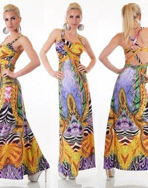 Tropical Lange Avondjurk Multicolor Purple