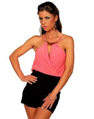 Fashion Jumpsuit met Korte Broek Lachs / Zwart